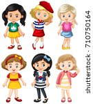 girls from different countries... | Shutterstock .eps vector #710750164