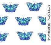 blue butterflies  seamless... | Shutterstock .eps vector #710753179