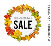 sale banner with bright autumn... | Shutterstock . vector #710754553
