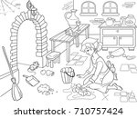 cinderella cleans up the... | Shutterstock .eps vector #710757424