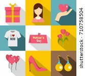 happy mama day icon set. flat...   Shutterstock .eps vector #710758504