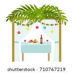 sukkah for the sukkot holiday.... | Shutterstock .eps vector #710767219