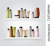 realistic cosmetic bottles with ... | Shutterstock .eps vector #710768944