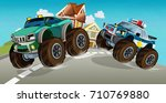 cartoon off road car chase with ... | Shutterstock . vector #710769880