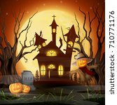scary church background with... | Shutterstock . vector #710771176
