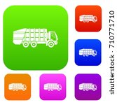 garbage truck set icon in... | Shutterstock .eps vector #710771710