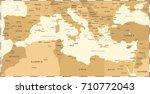 mediterranean sea map   vintage ... | Shutterstock .eps vector #710772043