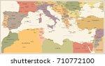 mediterranean sea map   vintage ... | Shutterstock .eps vector #710772100