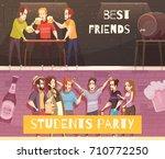students beer party horizontal... | Shutterstock .eps vector #710772250