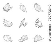 wings of angel icons set.... | Shutterstock .eps vector #710772340