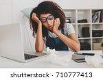 pretty brunette girl fell... | Shutterstock . vector #710777413