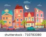 vector cartoon city street at... | Shutterstock .eps vector #710783380