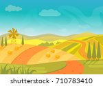 rural beautiful village... | Shutterstock .eps vector #710783410