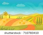 rural beautiful village... | Shutterstock .eps vector #710783410