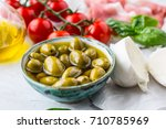 olives olive oil mozzarella... | Shutterstock . vector #710785969
