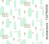 pastel mint houses baby fabric... | Shutterstock .eps vector #710790550