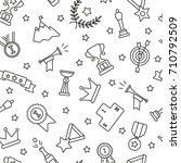 winning awards seamless pattern.... | Shutterstock .eps vector #710792509
