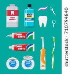 dental cleaning tools. oral... | Shutterstock .eps vector #710794840