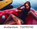 beautiful girl in swimwear... | Shutterstock . vector #710795740