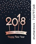 vector merry christmas and... | Shutterstock .eps vector #710797168