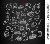 set of breakfast food and drink ... | Shutterstock .eps vector #710799280