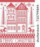 merry christmas winter nordic... | Shutterstock .eps vector #710799844