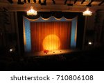 broadway stage with spotlight... | Shutterstock . vector #710806108