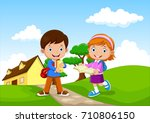 happy school kids go to school | Shutterstock .eps vector #710806150