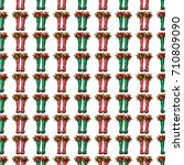 vector red and green polka dot... | Shutterstock .eps vector #710809090