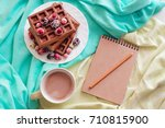 homemade waffles with berry.... | Shutterstock . vector #710815900