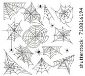 cobweb set spider web halloween ... | Shutterstock .eps vector #710816194