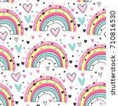 seamless rainbow pattern vector ...   Shutterstock .eps vector #710816530
