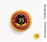 35 years anniversary gold and... | Shutterstock .eps vector #710818234