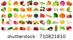 set of berries and fruits ... | Shutterstock .eps vector #710821810