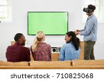 friends playing computer game... | Shutterstock . vector #710825068