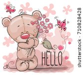 greeting card cute cartoon bear ... | Shutterstock .eps vector #710828428