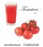 tomatoes juice with tomatoes... | Shutterstock .eps vector #710832028