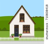 cute residential country house  ... | Shutterstock .eps vector #710838418