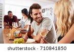 group of friends enjoying... | Shutterstock . vector #710841850