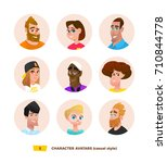 characters avatars in cartoon... | Shutterstock .eps vector #710844778