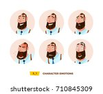 characters avatars emotion in... | Shutterstock .eps vector #710845309