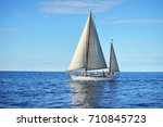 vintage wooden two mast yacht... | Shutterstock . vector #710845723