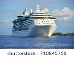 big cruise ship leaving port of ... | Shutterstock . vector #710845753