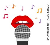 lips and a microphone  red lips ... | Shutterstock .eps vector #710853520