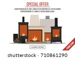 fireplaces sale  banner or... | Shutterstock .eps vector #710861290