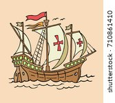 vector illustration of carrack. ... | Shutterstock .eps vector #710861410