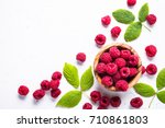 Fresh Raspberries In Wooden...