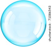 Soap Bubble ball translucent colored cyan blue. This is a detailed three-dimensional render 3d (Hi-Res). Isolated on white background - stock photo