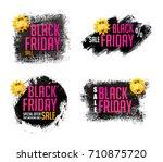 black friday banner set. sale... | Shutterstock .eps vector #710875720