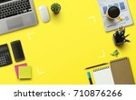 office workplace with laptop ... | Shutterstock . vector #710876266
